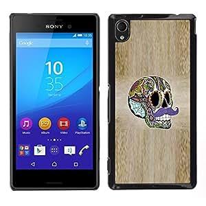 """For Sony Xperia M4 Aqua Case , Sir bigote de madera del grano del cráneo del ácido"""" - Diseño Patrón Teléfono Caso Cubierta Case Bumper Duro Protección Case Cover Funda"""