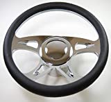 """Hot Rod 14"""" Chrome Billet """"Carousel"""" Style Steering Wheel Package W/Leather Grip"""