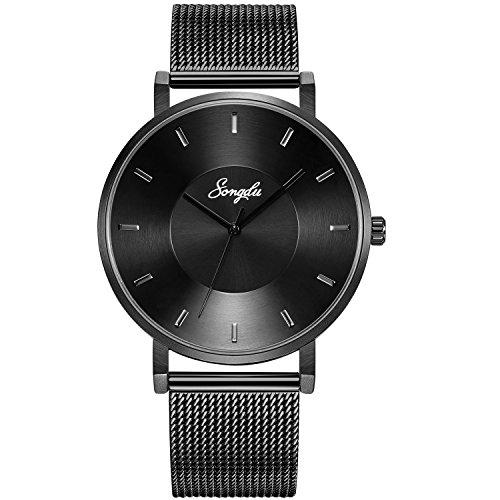 SONGDU Mens Black Minimalist Cool Stainless Steel Analog Dress Quartz Wrist Watch Metal Waterproof Watch (Black - Mesh) (Black Titanium Mesh Band)