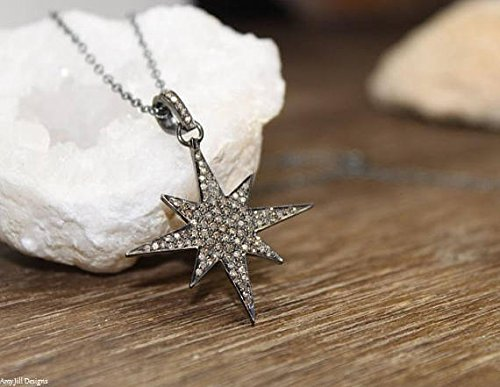 Pave Diamond Star Necklace, Starburst Necklace, Star Pendant, North Star, Genuine Diamonds Star pendant- 1 1/8 inches x 1 1/8 inches Drop- 1 1/2 inches 16