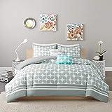 Tuweep Beautiful Modern Contemporary Grey Teal Aqua Blue White Stripe Comforter Set   Collection COMF-18206285