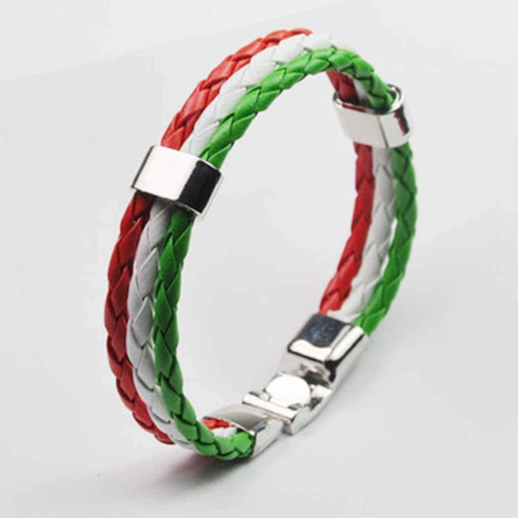 Lidahaotin Unisexe Coupe du Monde Drapeau National Cuir Multilayer Bracelet Tress/é 3 Brins Corde Bangles Hommes Femmes Main Wristband Allemagne