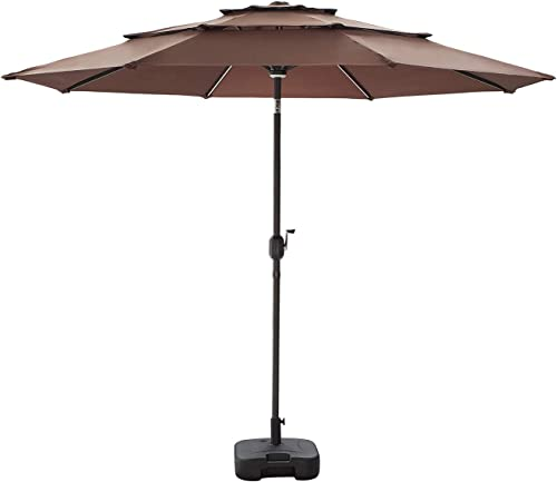 Festival Depot Patio 3 Tiers Umbrella with Aluminum Tilt Crank Center Light 8 Solar Powered LED Lights Bars Square Weights Plate Water Filled Stand Black Base 9.8 FT Patio Umbrella and Base Coffee