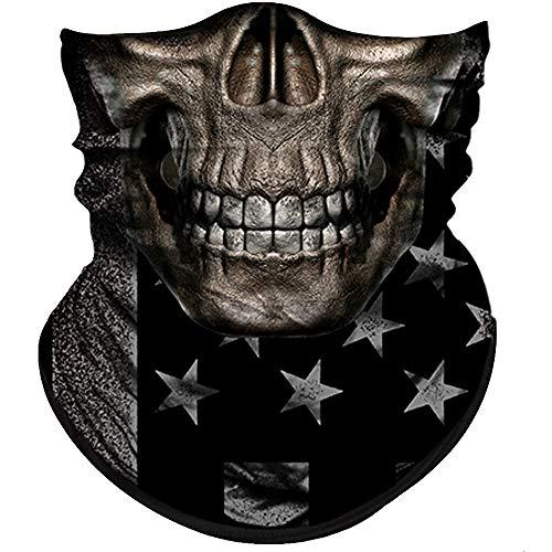 Half Face Halloween Male (Obacle Skull Face Mask Half for Dust Wind UV Sun Protection Seamless 3D Tube Mask Bandana for Men Women Thin Breathable Skeleton Mask Motorcycle Riding Biker Cycling Sport Festival (Skull)
