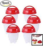 Hojo Set of 6 Rapid Egg Cooker Food Grade Silicone Poachers Home Egg Boiler...