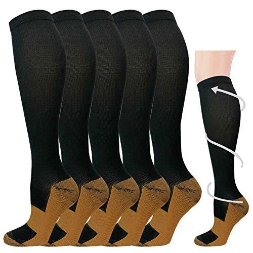 5 Pairs Copper Compression Socks for Men & Women 20-30 mmHg Medical Graduated Compression Stockings for Sports Running Nurses Shin Splints Diabetic Flight Travel Pregnancy (Black, L/XL)