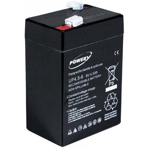 POWERY® Batteria al Gel di Piombo Lampada Johnlite, aspirapolvere, Lampade alogene 6V 4,5Ah (sostituisce Anche 4Ah 5Ah) 1.86.POW.1.4