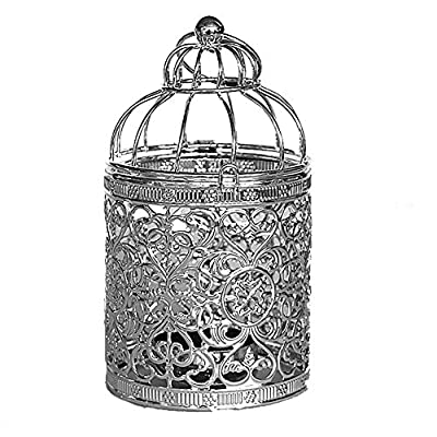 Qingsun Metal Tealight Candle Holder Lanterns Creative Wedding Home Table Decoration Birdcage White
