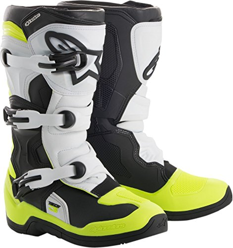 6 Off Road Mens Boots - Alpinestars 2018 Youth Tech-3S Boots (3) (BLACK/WHITE/FLO YELLOW)