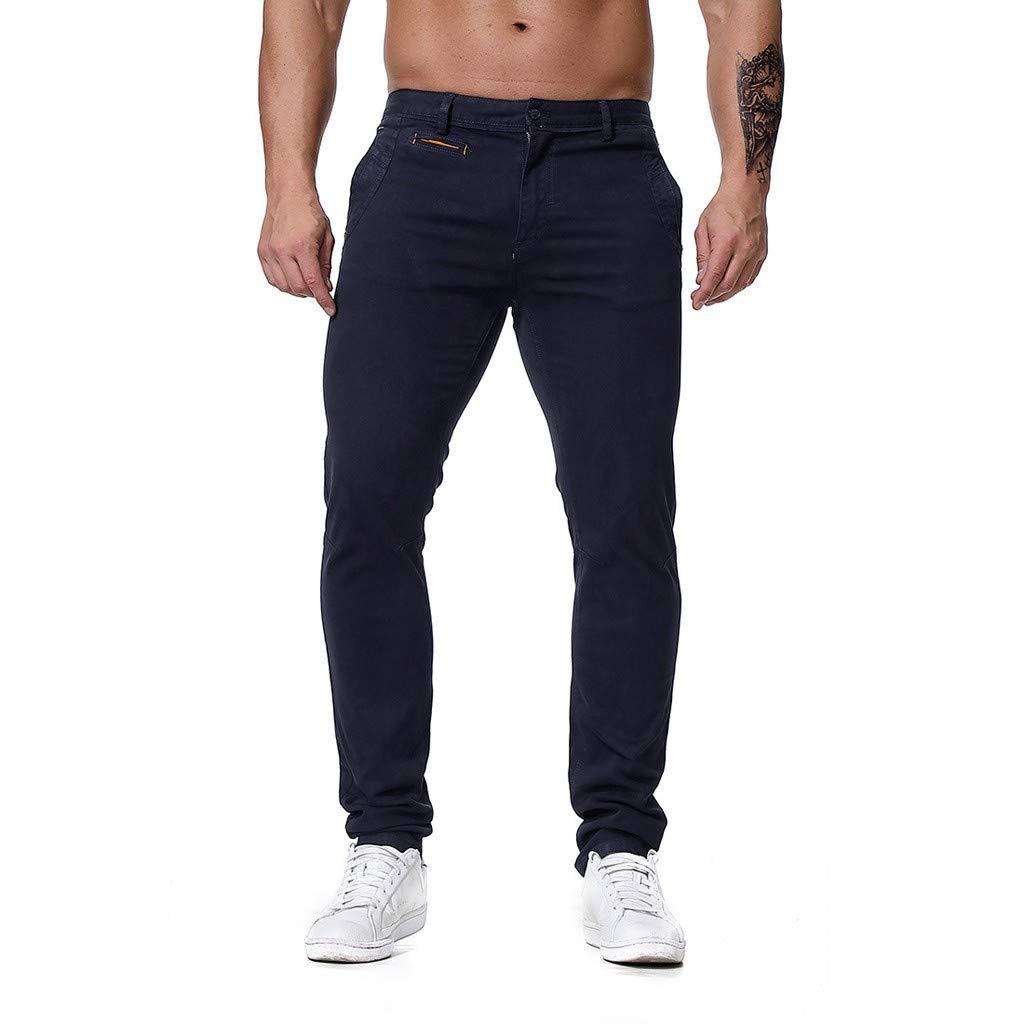 Men's Regular Fit Lightweight Comfort Casual Travel Tech Pants Jogger with Pocket (Asian Size:L, Dark Blue)