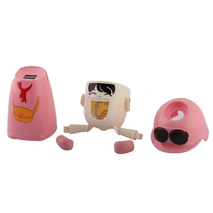 Amazon.com: eDealMax muchacha Bolsa de plástico patrón de baño Dispensador automático de la Crema del exprimidor de la Copa de almacenamiento del estante ...