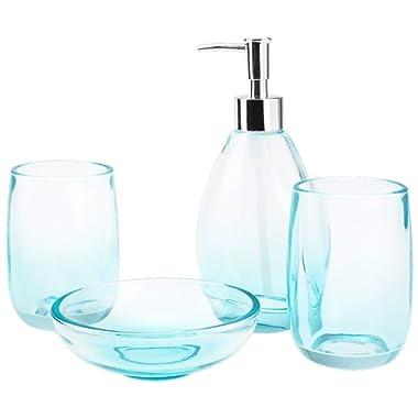 4-Piece Housewares Clear Glass Bathroom Accessories Set, Complete Bath Ensemble Sets for Bathroom Decor Includes Soap Dispenser Pump, Toothbrush Holder, Tumbler, Soap Dish, Bath Set Collection (Blue)