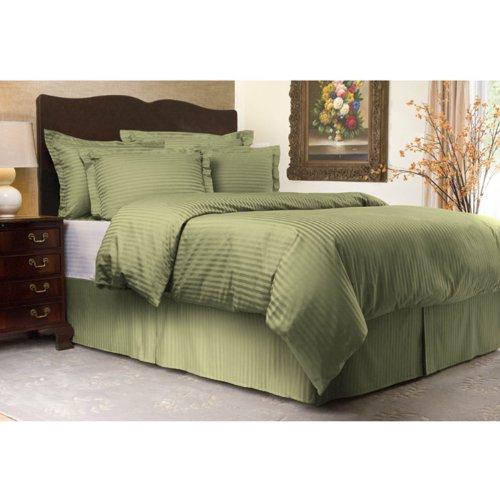 Shop Bedding Sateen Stripe 300TC Duvet Cover Set, King, Sage