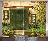 Ambesonne Rustic Decor Collection, Cottage Door Overgrown Bushes Grass Tree Garden Brick Fairytale Countryside Image, Living Room Bedroom Curtain 2 Panels Set, 108 X 90 Inches, Green Ivory Yellow For Sale