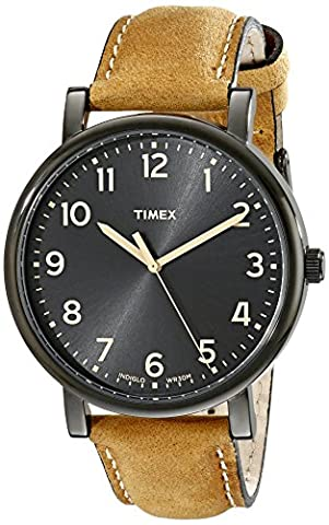 Timex Unisex T2N677AB Originals Black Watch with Tan Leather Band (Leather Round Watch)