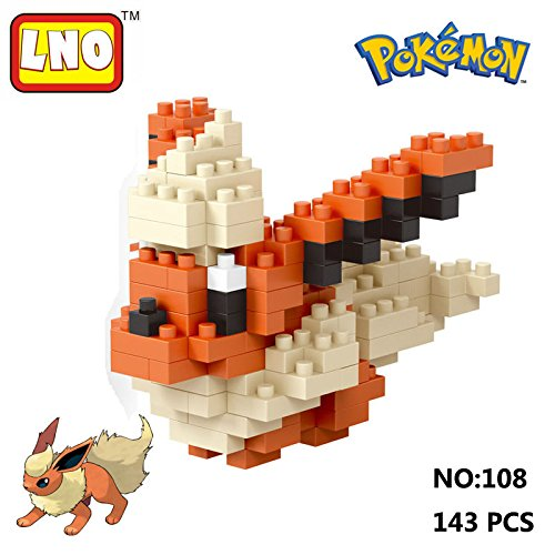 LNO Anime Pokemon Flareon Nano Block Diamond Mini Building Toys Pocket Monster (Holo 2 Costumes)
