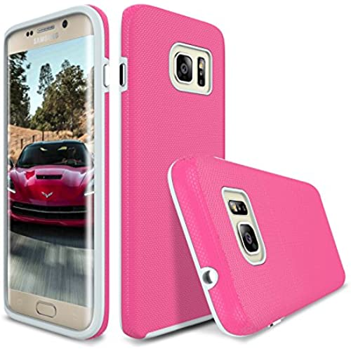 S7 Edge Case, Style4U Slim Fit Hybrid Armor Case for Samsung Galaxy S7 Edge with 1 Style4U Stylus [Hot Pink] Sales