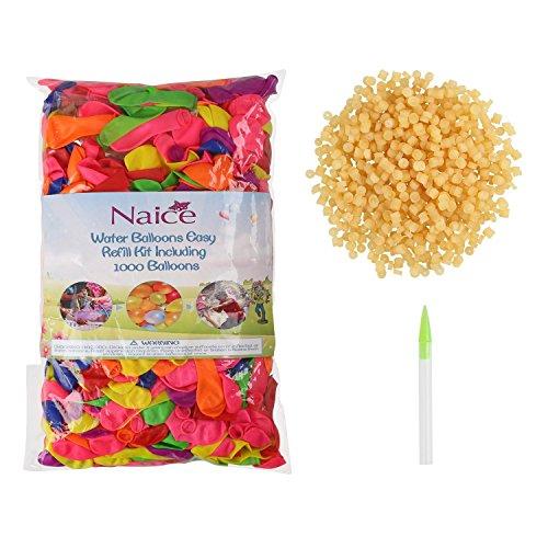 Naice 1000 Wasserbomben/Wasserballon als Ersatz von Bunch O Ballon luftballons Set (inkl.1000 luftballons +1000 Gummibänder+1 Füllen Instrument DIY Spielzeug)