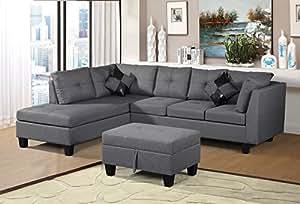 Amazon.com: Merax. Sofa 3-Piece Sectional Sofa with Chaise