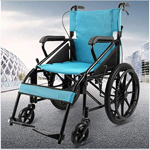 Steel Tube Wheelchair Household Portable Wheelchair, Light Folding Wheelchair Driving Medical Wheelchair, Old Scooter Easy to Store, Easy to Carry
