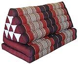 Thai triangle cushion XXL, with 2 folding seats, burgundy/red, sofa, relaxation, beach, pool, meditation, yoga, made in Thailand. (82317)