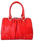 Authentic M Crocodile Skin Womens Belly Leather Clutch Bag Purse Red Handbag