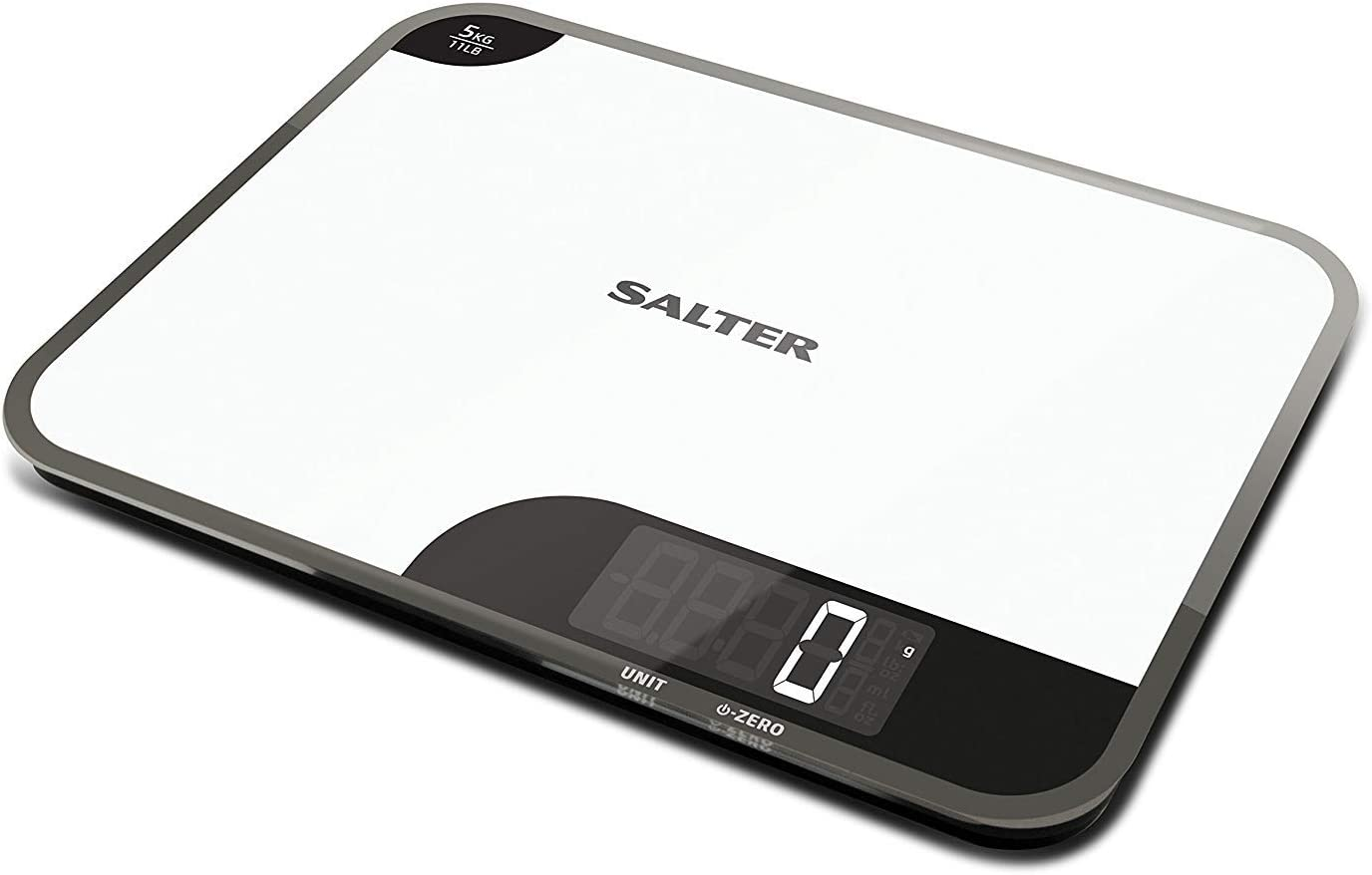 Salter Mini-Max Kitchen Scales, Small + Practical, Measure Food / Ingredients Weight, Weigh up to 5kg, Metric + Imperial, g oz ml fl.oz. Stylish Design, Easy Wipe Clean, 15 Year Guarantee - White