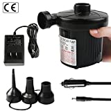 OKPOW Electric Air Pump for Inflatables 110V AC/12V DC Quick-Fill Pump for Outdoor Inflatables Pool Toys Black