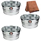 Behrens 11-Gallon Round Galvanized Steel Tub, 3-Pack with Cleaning Cloth