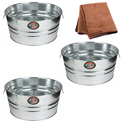 Behrens 11-Gallon Round Galvanized Steel Tub, 3-Pack with Cleaning Cloth by Behrens
