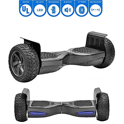 (NHT Hoverboard - All Terrain Rugged 8.5 Inch Wheels Off-Road Electric Smart Self Balancing Scooter with Built-in Bluetooth Speaker LED Lights - UL2272 Certified, Black)