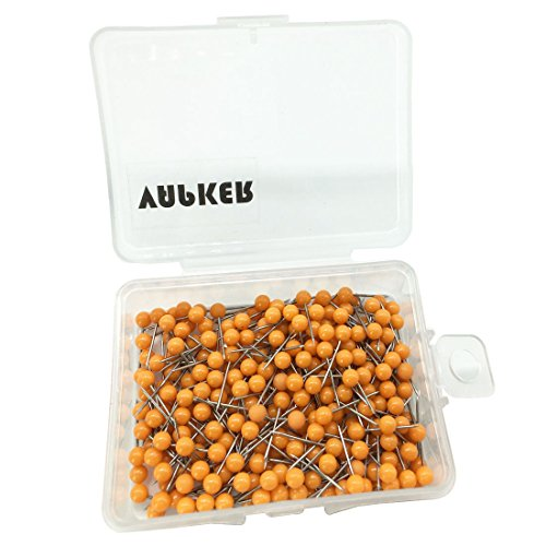 VAPKER 1/8 Inch Map Tacks Round Plastic Head Push pins with Stainless Point(Box of 300 Orange Color pins)