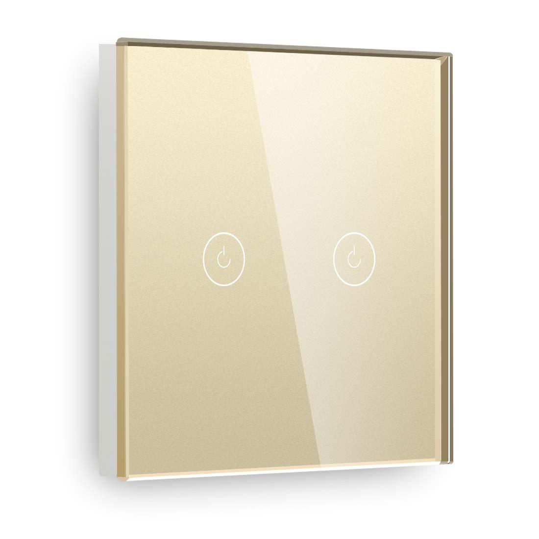BSEED Interruptor de pared t/áctil de 86 mm Panel de vidrio InterruptorTemplado inteligentes 1 Gang 1 Way 110V 250V Blanco