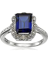 Sterling Silver Gemstone and Diamond-Accent Ring