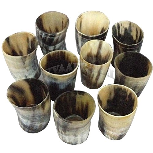 La vivia Pattern Print Original Ox Horn Wine Beer Mug Drinking Glass 10 Pc Wholesale 3 In