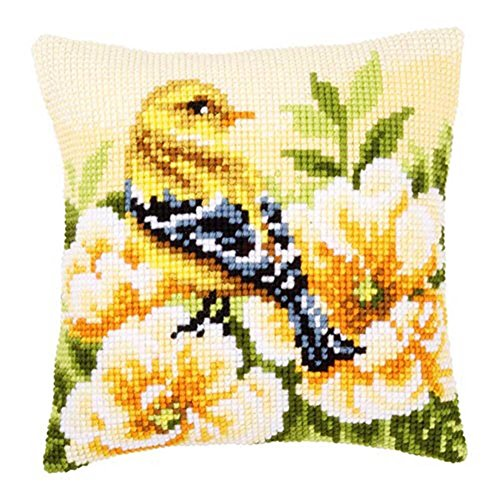 Vervaco Goldfinch on Peonies Pillow Cover Cross Stitch Kit