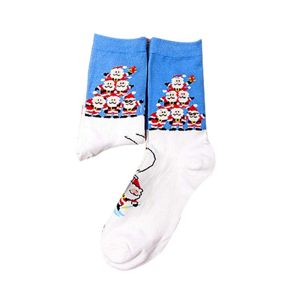 VJGOAL Mujer y hombre Otoño e invierno Moda casual Navidad Cómoda estampado de algodón Algodón Calcetín Corto Tobillo Calcetín(Un tamaño, Azul): Amazon.es: ...
