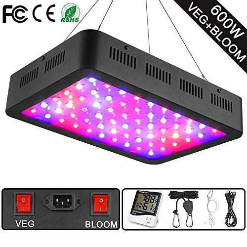 - 600W LED Grow Light, WAKYME Full Spectrum Plant Light with Veg and Bloom Double Switch, Thermometer Humidity Monitor, Adjustable Rope, Grow Lamp for Indoor Plants Veg and Flower(60pcs 10W LED)