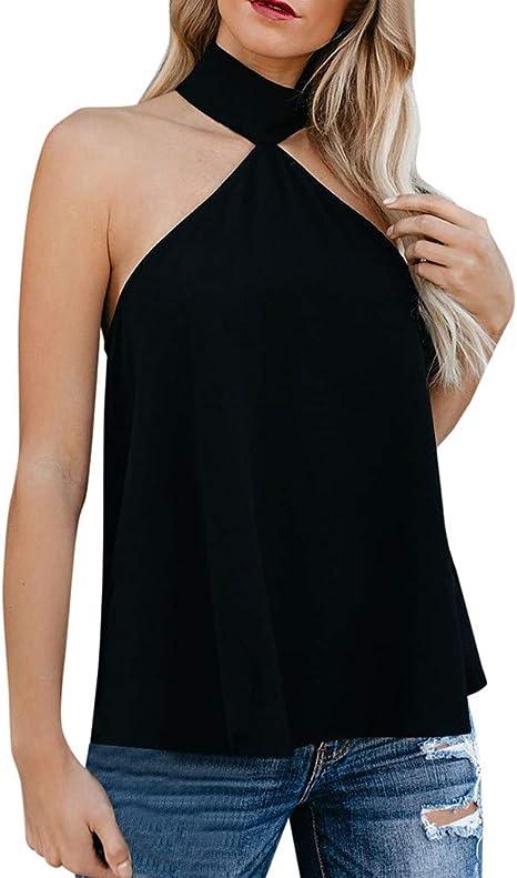 Toponly - Camiseta sin mangas con cuello halter para mujer ...