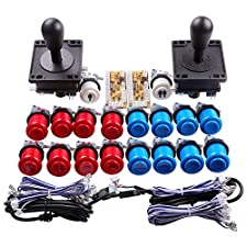 Easyget Classic Arcade Game DIY Parts for Mame USB Cabinet 2x Zero Delay USB Encoder + 2x 8 Way Classic Arcade Joystick + 18x Classic Arcade Push Button (Including 1p / 2p Start Push Button) Blue + Red Color Kits