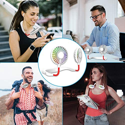 Hand Free Mini USB Personal Fan – Rechargeable Portable Headphone Design Wearable Neckband Fan,3 Level Air Flow,7 LED Lights,360 Degree Free Rotation Perfect for Sports, Office and Outdoor (white) 51OJE4aFyLL