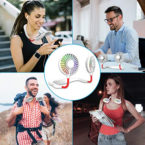 Hand Free Mini USB Personal Fan - Rechargeable Portable Headphone Design Wearable Neckband Fan,3 Level Air Flow,7 LED Lights,360 Degree Free Rotation Perfect for Sports,Office and Outdoor (white)
