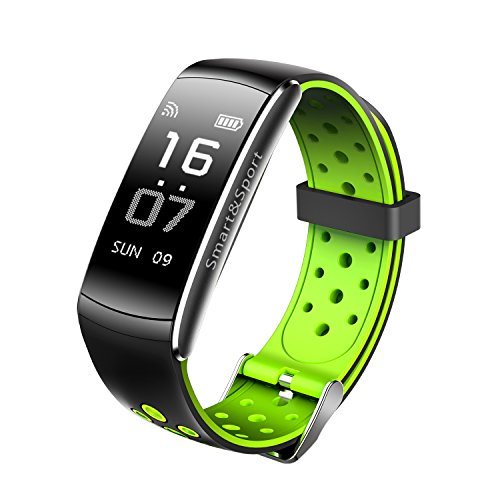 Fitness Tracker Z11 smart bracelet 0.96inch, Real-time Dynamic Heart Rate, Drink Reminders, IP68 Waterproof, Blood Pressure&blood Oxygen Monitoring for IOS and Android Cellphone (Green & black)
