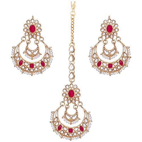 Aheli Elegant Indian Traditional Wedding Kundan Pearl Maang Tikka with Earrings Set for Women Ethnic Bollywood Party Jewelry