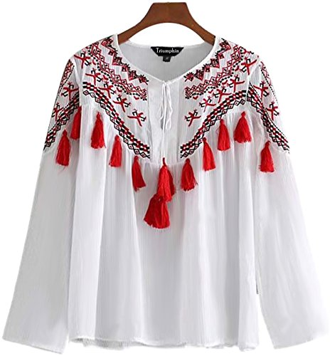af35e31ea51be Triumphin White Women Girls Boat Neck Embroidered Rayon Cotton Top for  Dailywear Stylish Casual and Western Wear Women Girls Tops