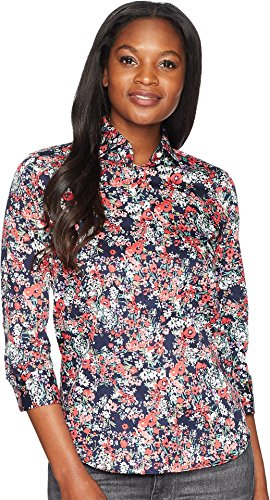 Chaps Women's No-Iron Floral Cotton Shirt Navy Multi/Spring Garden Floral Large