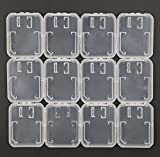 TF Card/ SD Card 2 in 1 Holder Case, ALXCD 12 PCS Plastic Transparent Storage Carrying Case for SanDisk/ Kingston/ Samsung/ Sony/ Transcend Micro SD Memory Card, T-Flash Card, Pack of 12 (Clear)