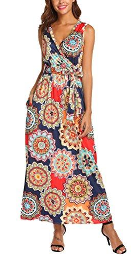 (SimpleFun Women's Summer V Neck Boho Floral Maxi Dress Long Beach Dress Plus Size(Orange,XL))