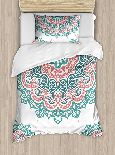 Henna Duvet Cover Set Twin Size by Ambesonne, Soft Colored Mandala South Asian Culture Inspired Ethnic Style Floral Image, Decorative 2 Piece Bedding Set with 1 Pillow Sham, Turquoise Coral Teal (Colored Coral Pillows)