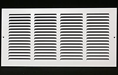 """12""""w X 4""""h Steel Return Air Grilles - Sidewall and Ceiling - HVAC Duct Cover - White [Outer Dimensions: 13.75""""w X 5.75""""h]"""